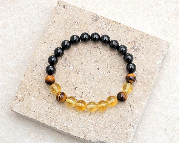 Black Tourmaline Citrine Tigers Eye Bracelet