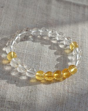 Bright Energy Citrine and Quartz Crystal Bracelet