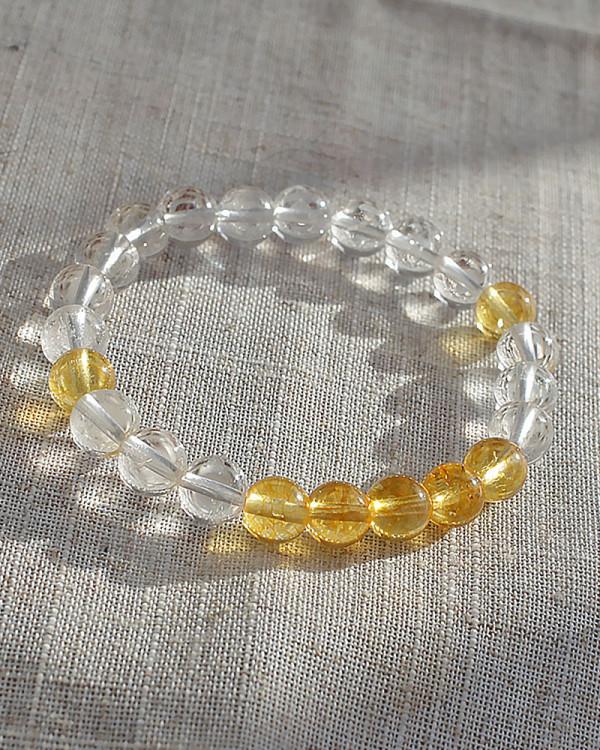 Bright Energy Citrine and Quartz Crystal Bracelet