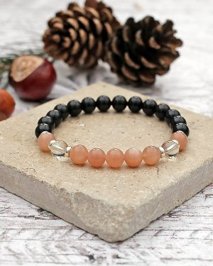 Black Tourmaline, Sunstone & Clear Quartz Bracelet