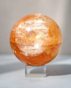 Large Honey Calcite Sphere | 990 grams 88mm diameter