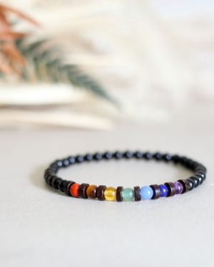 Dainty Chakra Bracelet With Coconut Shell Spacers